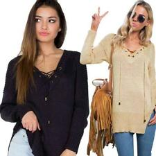 Women Casual Pullover Long Sleeve Tops Knitting V-Neck Loose Sexy Sweater Blouse