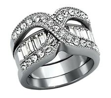 Women's Wedding Rings Eternity Stainless Steel Engagement Ring Set Size 5-10