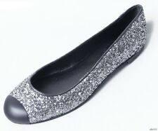 new $595 Giuseppe ZANOTTI dark silver GLITTER ballet flats shoes - super cute