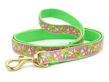 Any Size - Up Country - MADE IN USA - Designer Dog Puppy Leash - Pink Palms