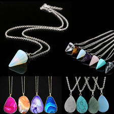 Natural Crystal Quartz Stone Healing Point Chakra Bead Necklace Pendant Jewelry