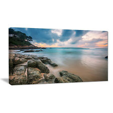 Design Art Gloomy Tropical Sunset Beach Photographic Print on Wrapped Canvas