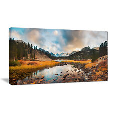 Design Art Rocky Lake Sunset Panorama Photographic Print on Wrapped Canvas