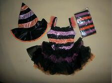 Girls Striped Witch Costume Shimmery Dress Tulle Tutu Tights Hat 4-6 or 8-10