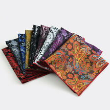 Men Fashion Paisley Floral Pocket Square Red Rolled Edge Wedding Handkerchief