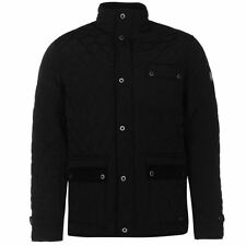Firetrap Mens Kingdom Jacket Quilted Shoulders Warm High Neck Full Zip Top