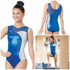 NEW Royal Silver Mesh Foil Mystique Rhinestones Competition Gymnastics Leotard