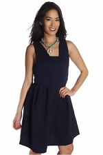 DEALZONE Alluring Embossed Zipper Dress L Large Women Blue Cocktail