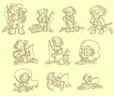 Bears Fishing Redwork Machine Embroidery Designs-30 Anemone Embroidery Designs