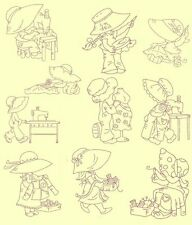 Sunbonnets Sewing Redwork Machine Embroidery Designs- 40 Anemone Embroidery Des