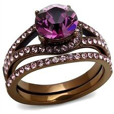 Womens Engagement Wedding Rings Chocolate Plated Stainless Steel SZ 5 6 7 8 9 10