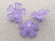 15mm 50/../500pcs FROSTED ORCHID ACRYLIC PLASTIC FLOWER BEADS Y01621