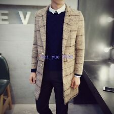 Fashion Winter Mens Check Windbreaker Slim Plaid Coats Buttons Trench Jackets