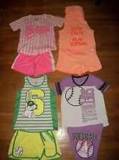 JUSTICE 2 PC SOFTBALL VARSITY TOP & SHORTS SET GIRLS ACTIVE OUTFIT SZ 12 14