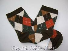 NWT Janie and Jack Autumn Equestrian Socks Argyle Diamond 2T 3 4 5 Brown Orange