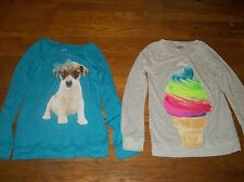 JUSTICE LONG SLEEVE LIGHTWEIGHT SWEATER TOP BLUE DOG GRAY ICE CREAM GIRLS SZ 14