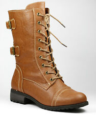 Whisky Brown Faux Leather w Buckle Zipper Lace Up Military Combat Mid Calf Boot