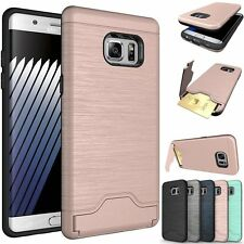 For Samsung Galaxy S7 Edge Case Slim Kickstand Credit Card Hard Armor Skin Cover