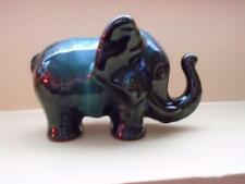 BLUE MOUNTAIN POTTERY STYLED ELEPHANT w/ TRUNK UP FIGURINE GREEN DRIP GLAZE