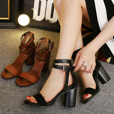 Ankle Strap Sandal Casual Block High Heel Buckle Women Shoe Suede Fashion Street