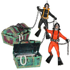 Aquarium Fish Tank Ornament Treasure Hunter Chest with Deep Sea Diver Air Action