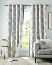 FLORAL FLOWERS LEAVES DUCK EGG BLUE CREAM LINED RING TOP CURTAINS *9 SIZES*
