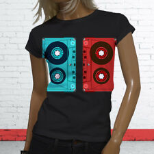 3D CASSETTE TAPE RETRO HIP HOP MIX TAPE RAP 90S Womens Black T-Shirt