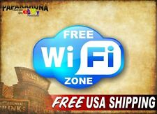 "FREE WIFI ZONE 8"" Decal Coffee Shop Door Cafe Bar Pub Store Sign Spot Stickers"