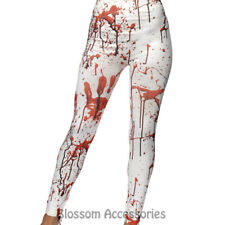 CA30 Horror Leggings White Blood Stained Halloween Zombie Fancy Dress Costume
