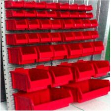 Large 44 RED Plastic Parts Storage Stacking Bins & Louvre Wall Panel Quality