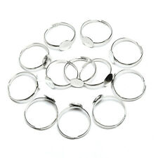 10/20PCS 8mm Silver Plated Adjustable Flat Ring Base Blank Jewelry Findings LAL