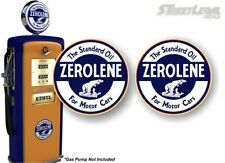 "2 ZEROLENE Motor Oil Antique Gas Pump 9"" Decals Vintage Gas Pumps Sign Stickers"