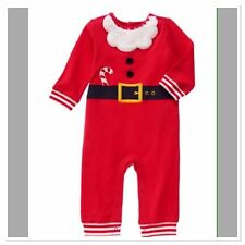 NWT Gymboree Boy 3-6M 2015 HOLIDAY SHOP Red Romper One Piece SANTA Candy Cane