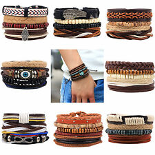 CHIC New Men's Braided Leather Wood Beads Cuff Bangle Bracelet Wristband