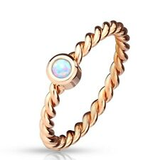 Stainless Steel Opal Center Rope Band Rose Gold Ring Size 5-8