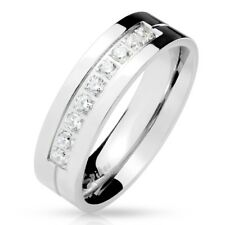 Stainless Steel 0.27 Carat CZ Grooved Center Wedding Band Ring Size 5-13