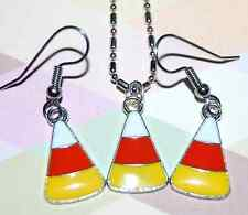 ENAMEL CANDY CORN CHARM FALL NECKLACE or EARRINGS USA MADE - SHIPPED FAST! #F1