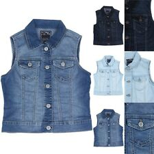Button Up Front Denim Vest with 2 Flap Chest Pockets Sleeveless Cotton S M L