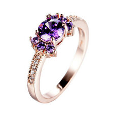 Sparkling Round Purple Amethyst Wedding Ring 10KT Yellow Gold Filled Size 6-10