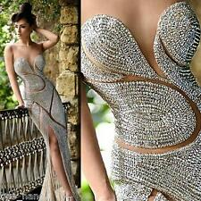Luxury Rhinestone Sheath Split Evening Dress Sheer Neck Prom Formal Party Gown
