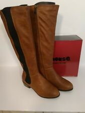 TORY INSPIRED DOLLHOUSE OPPONENT CHESTNUT PU SIDE ELASTIC KNEE HIGH RIDING BOOT