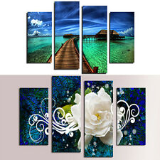 4X Seaside Floral Oil Painting Pictures Living Room Wall Art Home Decor Exotic
