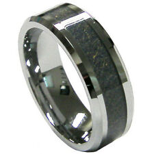 Durable Men's 8mm Carbon Fiber Inlay Tungsten Wedding Band Ring Size 9 10 11 12