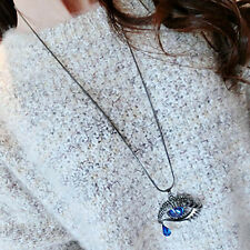 Blue Eyes Angel Tear Pendant Crystal Long Necklace Sweater Chain 50/35MM