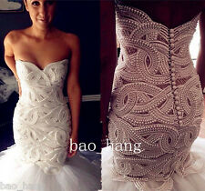 Luxury Pearl Beaded Mermaid White/Ivory Wedding Dress Bridal Ball Gown Custom