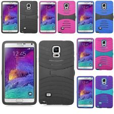 For Samsung Galaxy Note 4 Hybrid Hard Armor Kickstand Case Skin Phone Cover