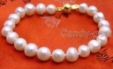 "SALE Big 8-9mm  white natural freshwater Pearl 7.5"" bracelet-bra273"