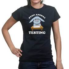 Stop Animal Testing Funny Womens Ladies T shirt Tee Top T-shirt