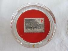 VINTAGE 1980's GLASS  PAPERWEIGHT - THE NORWICH MAIL COACH 1827 - STAMP