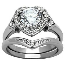 Women's Wedding Rings Stainless Steel Engagement Ring Halo Set Size 5 6 7 8 9 10